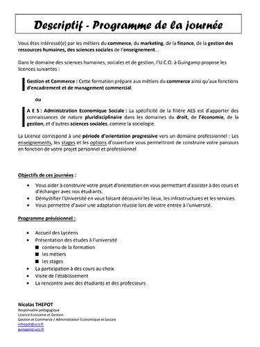 Licence Biologie - Université Catholique de l'Ouest Bretagne Nord (UCO Bretagne Nord) capturedu2018-10-1113-56-23